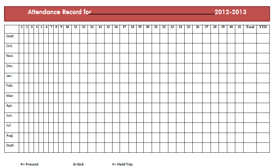 Reprintable Attendance Sheets For Teachers | Search Results | Calendar ...