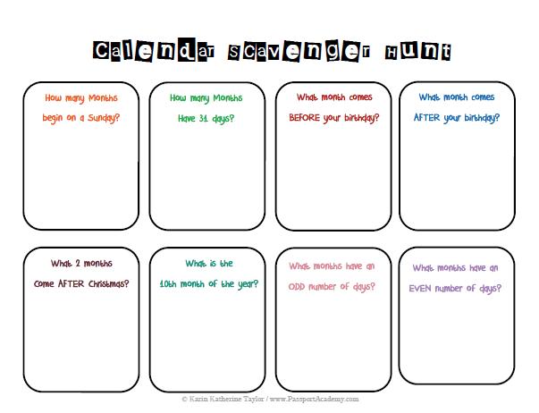 Calendar Math Binder – Math Scavenger Hunt Worksheet
